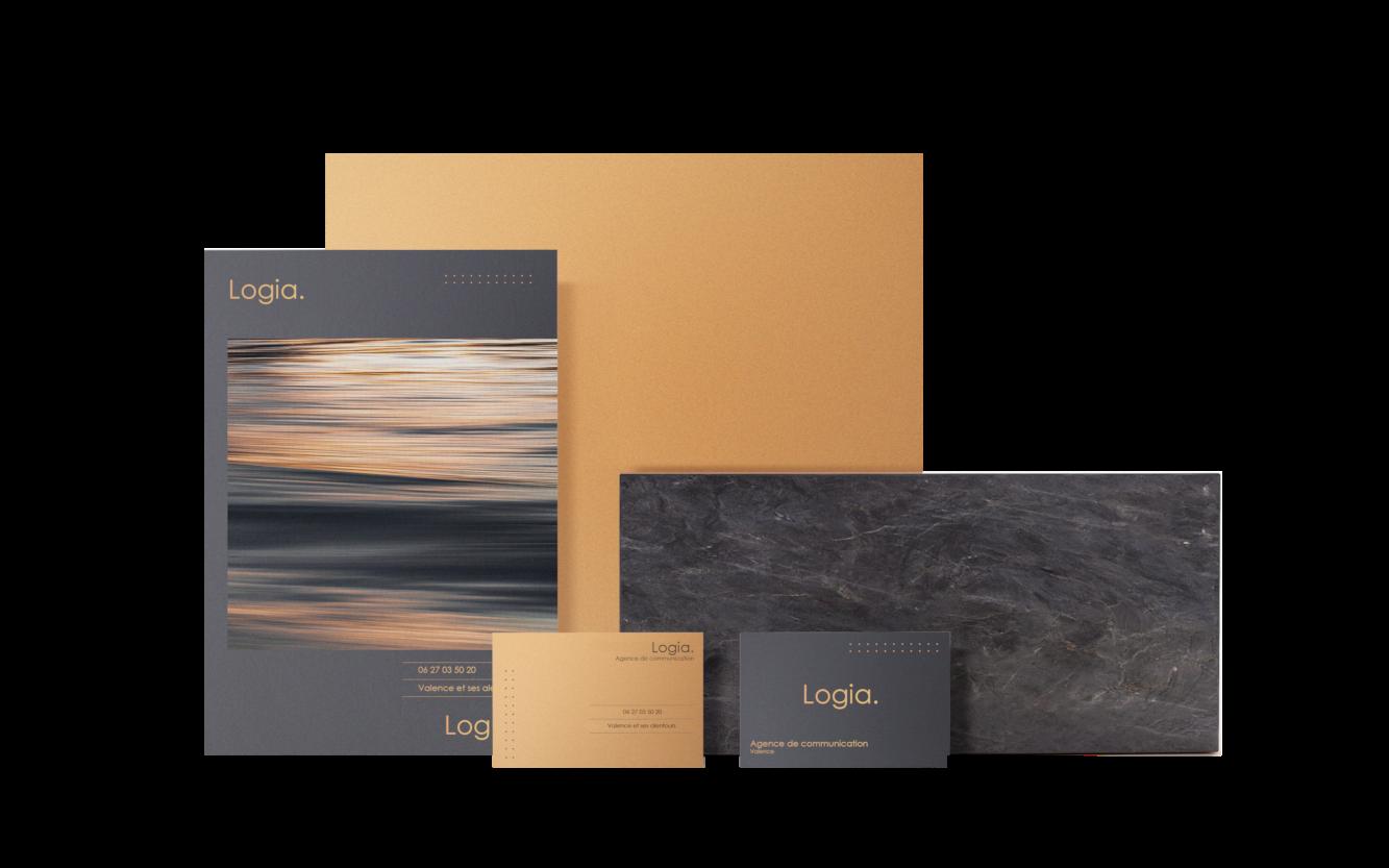 image identite visuelle avec carte de visite et brochure